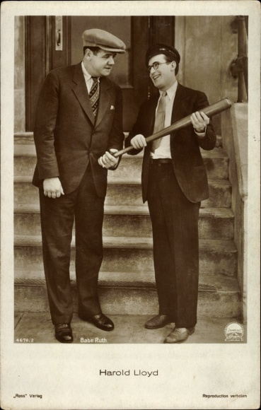 1930 German real photo postcard Babe Ruth Harold Lloyd Speedy