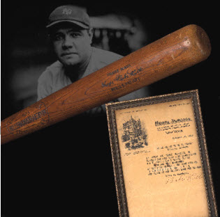 1921 Babe Ruth home run bat