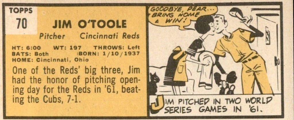 1963 Topps Jim OToole baseball card back