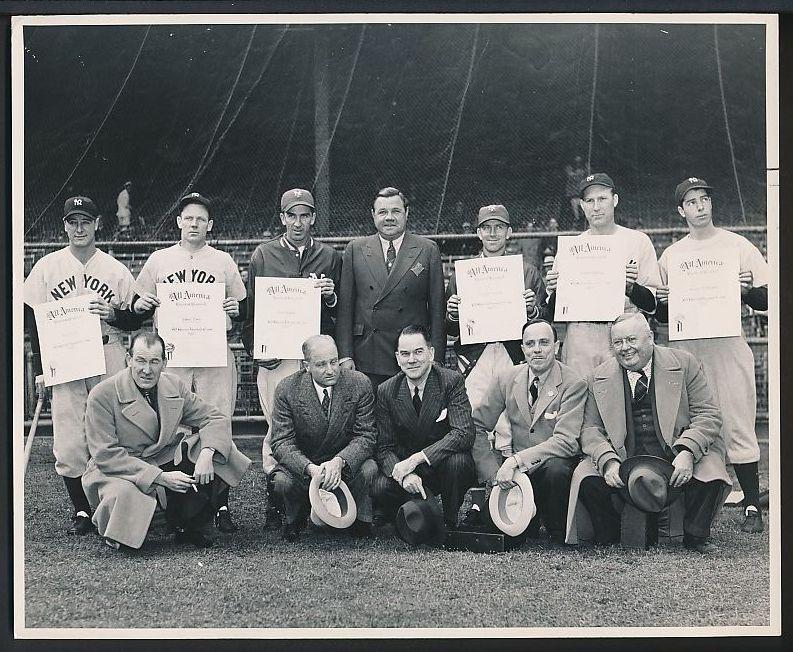 Babe Ruth All-America team photo Gehrig DiMaggio