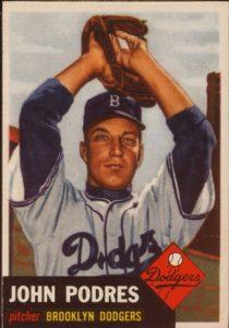 1953 Topps Johnny Podres rookie baseball card