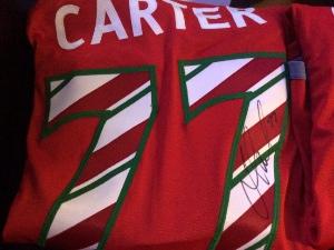 Jeff Carter LA Kings warmup jersey autographed