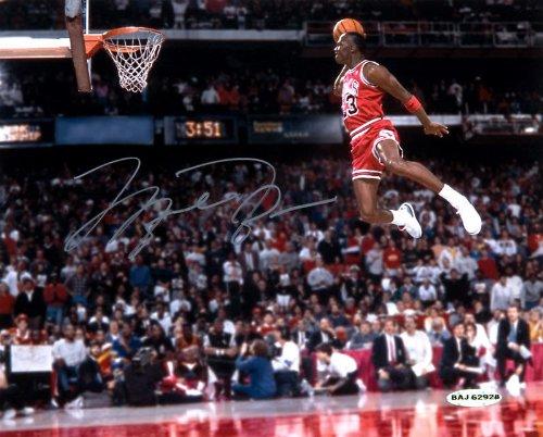 Autographed Michael Jordan dunk contest photo