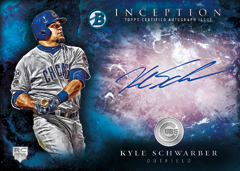 2016 Bowman Inception baseball Kyle Schwarber autograph blue