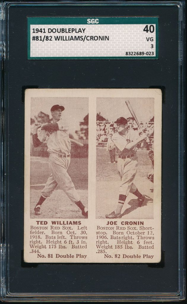 Image of 1941 Double Play Ted Williams and Joe Cronin card.