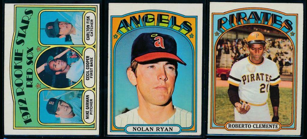 Carlton Fisk Nolan Ryan Roberto Clemente 1972 Topps baseball cards