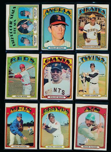 1972 Topps baseball cards stars