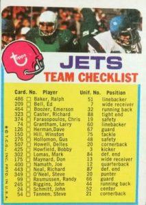 1973 Topps Football set Jets checklist card