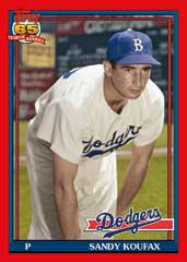 Sandy Koufax 2016 Topps Archives 1991 design red parallel
