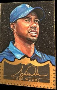 Tiger Woods autographed Masterful Paintings card