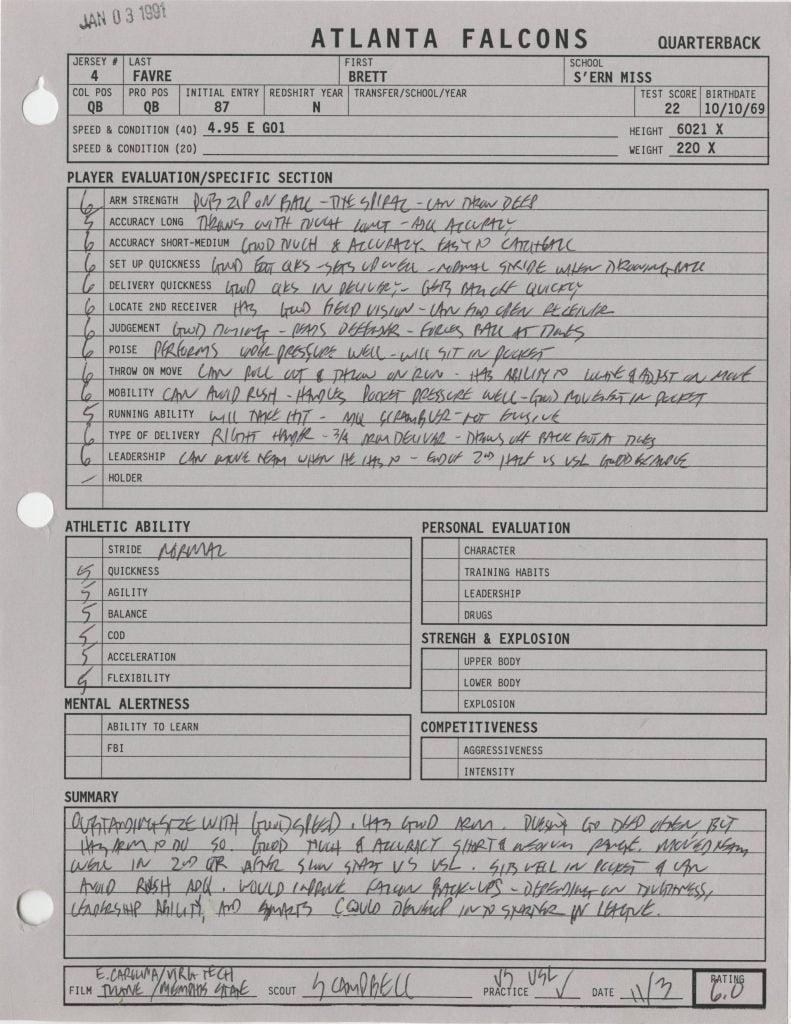 Falcons scouting report Brett Favre