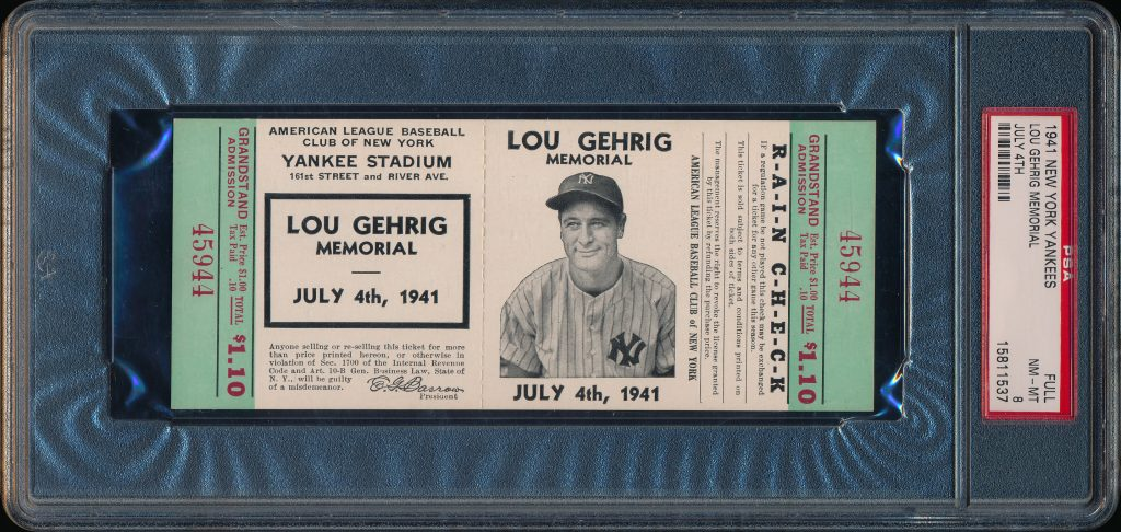 1941 Lou Gehrig Memorial Game Ticket