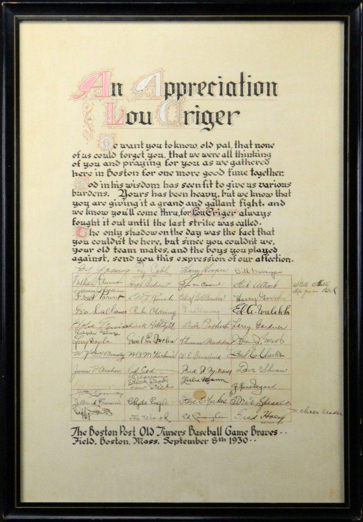 1930 Boston Post Old Timer's Game Multi-Signed Lou Criger Appreciation Poster (JSA)