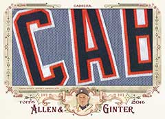 Miguel Cabrera jersey relic card 2016 Topps Allen Ginter