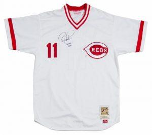 Game worn Barry Larkin Cincinnati Reds throwback jersey