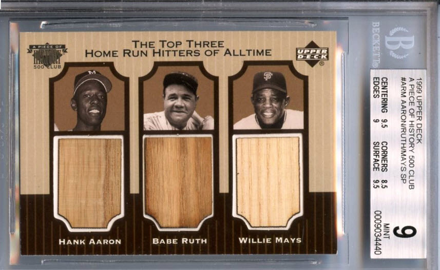 1999 Upper Deck Piece Of History 500 Home Run Club Sacred Edition #ARM Hank Aaron, Babe Ruth  Willie Mays Triple Game-Used Bat BGS 9
