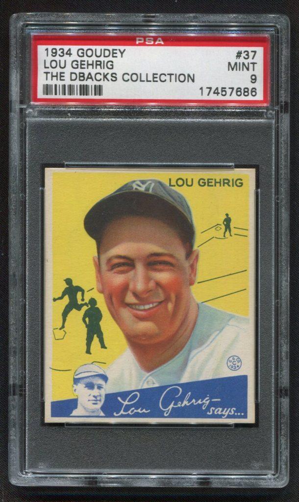 PSA 9 1934 Goudey Lou Gehrig