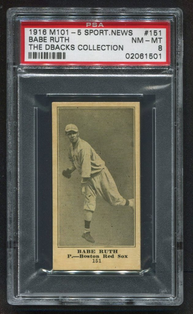 Babe Ruth 1916 Sporting News 101-5 rookie card PSA 8