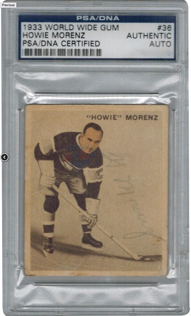 Howie Morenz signed 1933 World Wide Gum