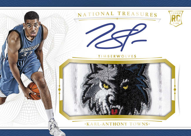 Karl Anthony Towns 2016 Panini National Treasures rookie patch autograph