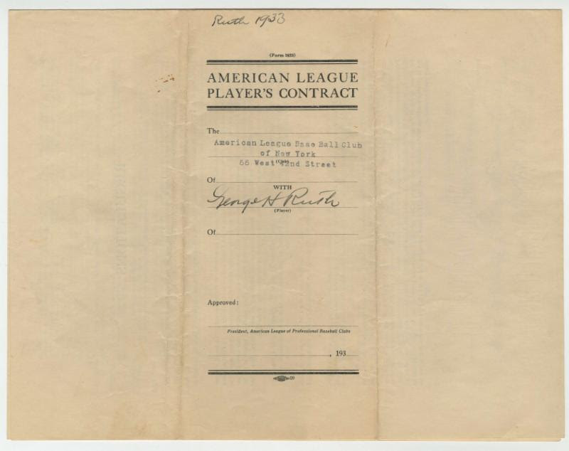 1933 Babe Ruth Yankees contract