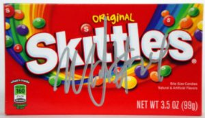 Autographed Marshawn Lynch Skittles package