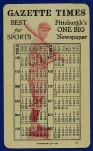 1923 Pittsburgh Press Gazette Pittsburgh Pirates schedule card made out of celluloid plastic