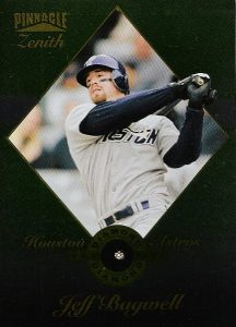 Issued at a rate of one in 350 packs, the 1996 PInnacle Zenith Real Diamond Club included a genuine (if small) diamond on the front