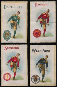 1910 Murad football silks featuring different universities