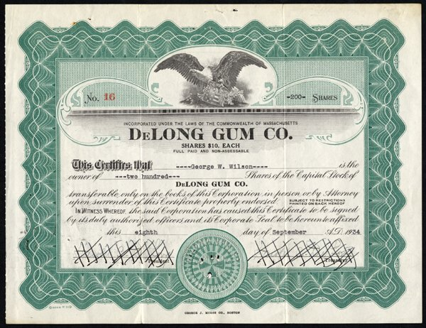 DeLong Gum Company stock certificate