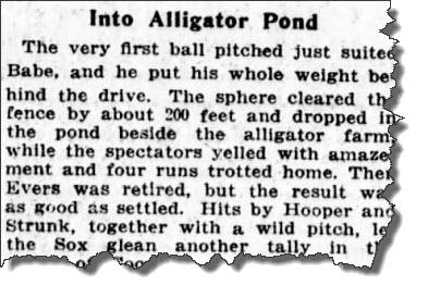 Babe Ruth 1918 alligator pond