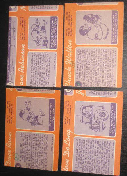 1970 Topps football wrong back cards