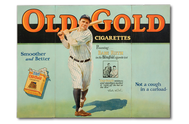 1930s Babe Ruth Old Gold Cigarettes ad
