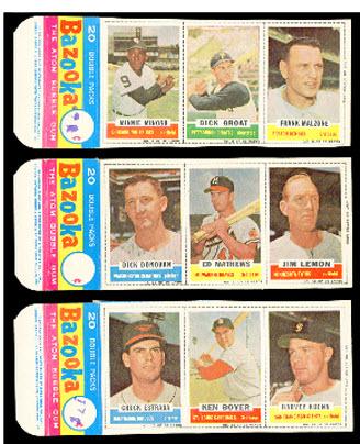 Bazooka baseball card panels 1961