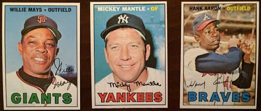 1967 Topps baseball cards Mays Mantle Aaron