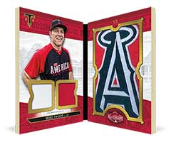 Mike Trout jumbo sleeve patch card 2016 Topps Triple Threads