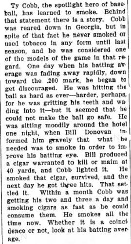 Ty Cobb smoking story