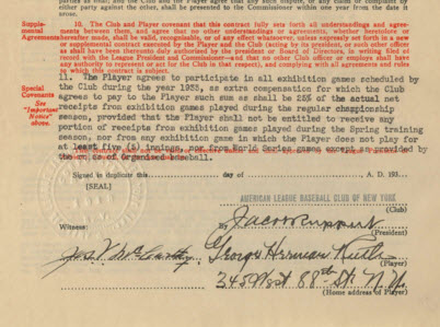 Babe Ruth contract 1933
