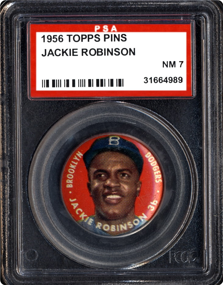 Jackie Robinson 1956 Topps pin PSA 7