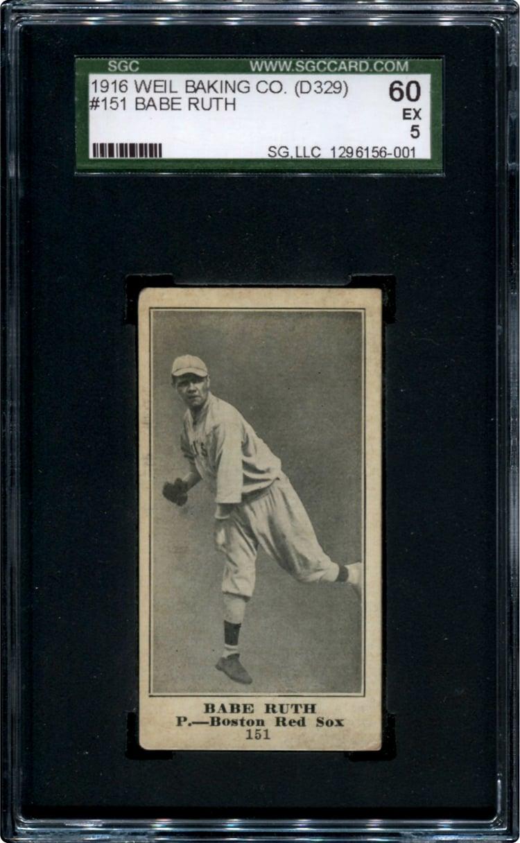 Babe Ruth rookie card 1916 Weil Baking