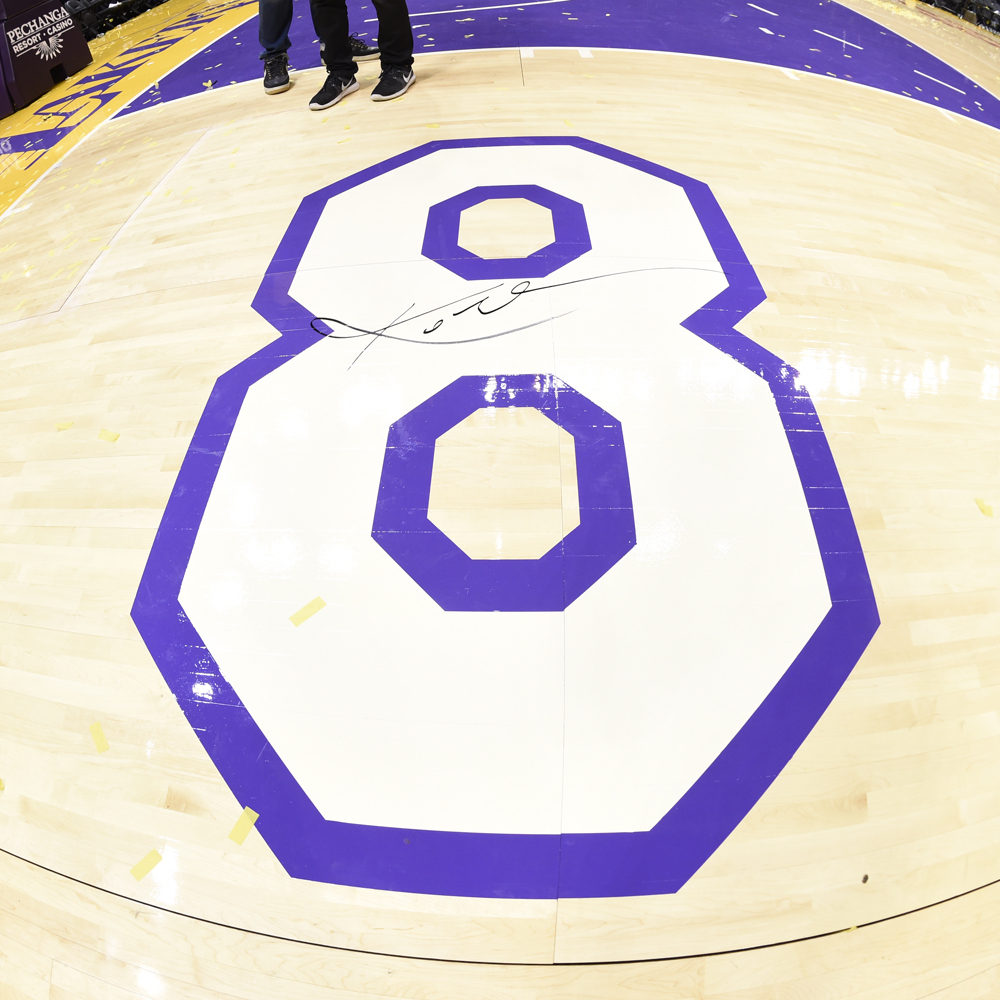 Autographed Kobe Bryant last game court