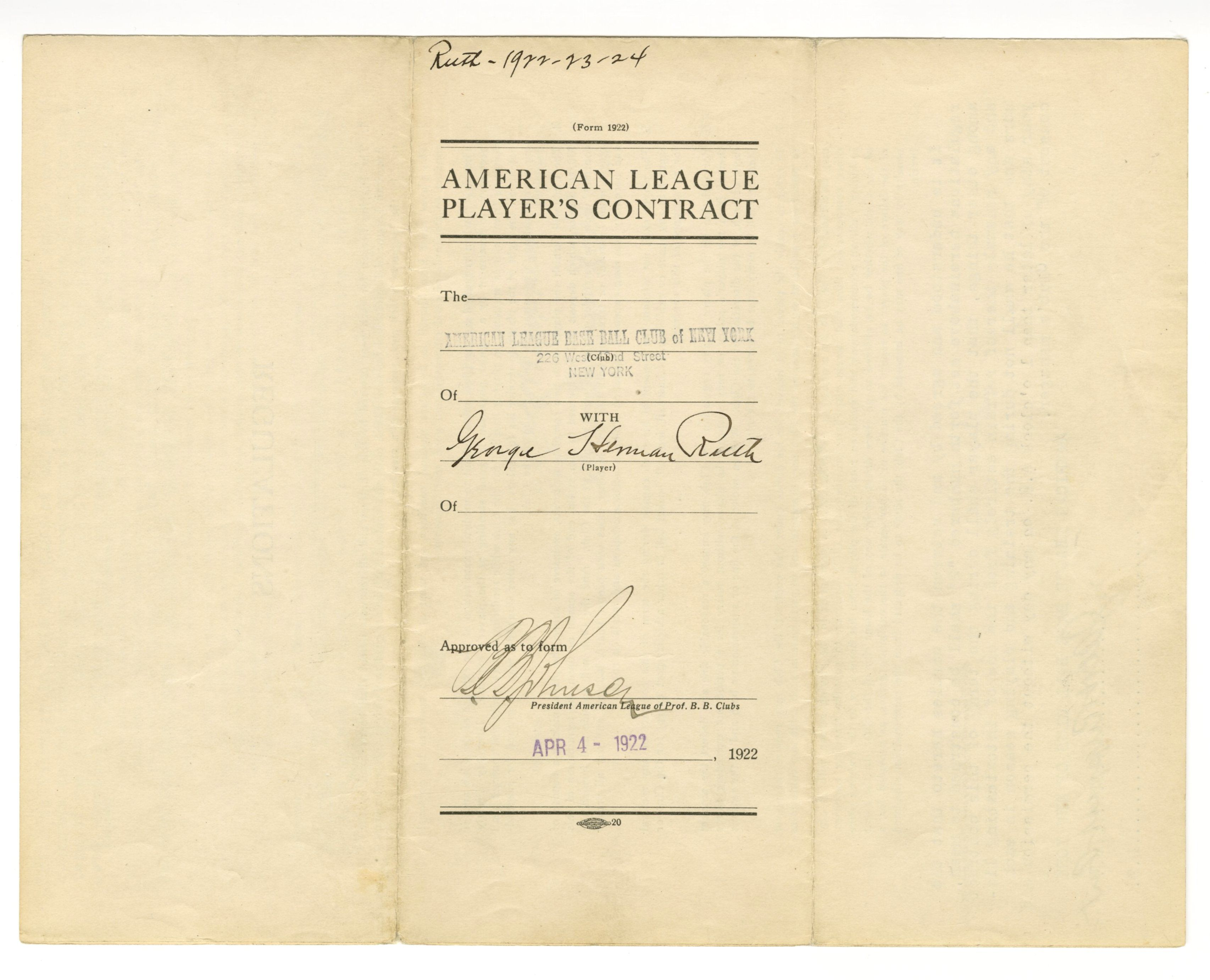 Signed Babe Ruth contract