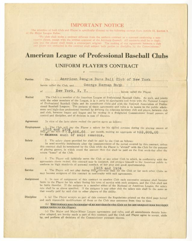 Babe Ruth Yankees contract 1922