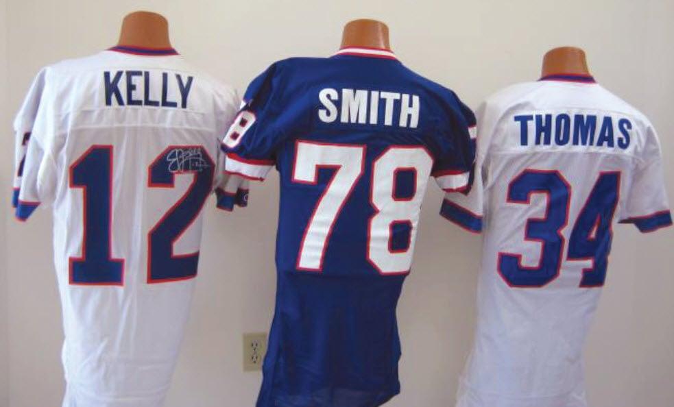 Buffalo Bills game worn helmets Jim Kelly Bruce Smith