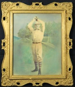Late 1800s crayon and chalk photograph of a baseball player