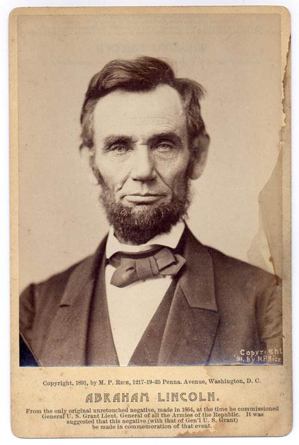 1892 cabinet card of Abraham Lincoln. This is an antique reproduction that was sold commercially to the public.