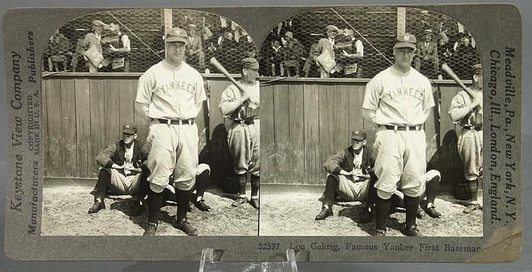 Stereoview of New York Yankees baseball legend Lou Gehrig