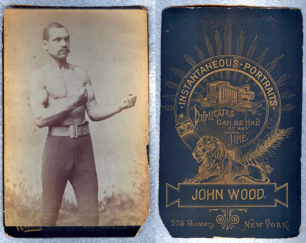 Front and back of a boxing cabinet card by famed photographer John Wood