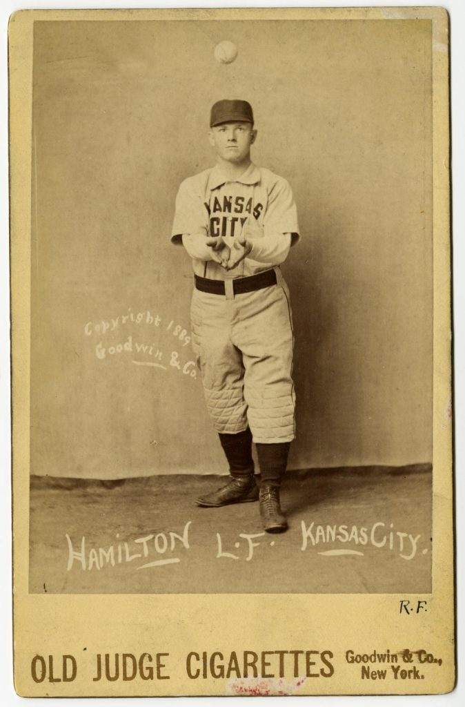 1880s cabinet card of baseball player Billy Hamilton. Used as a premium by Old Judge tobacco.