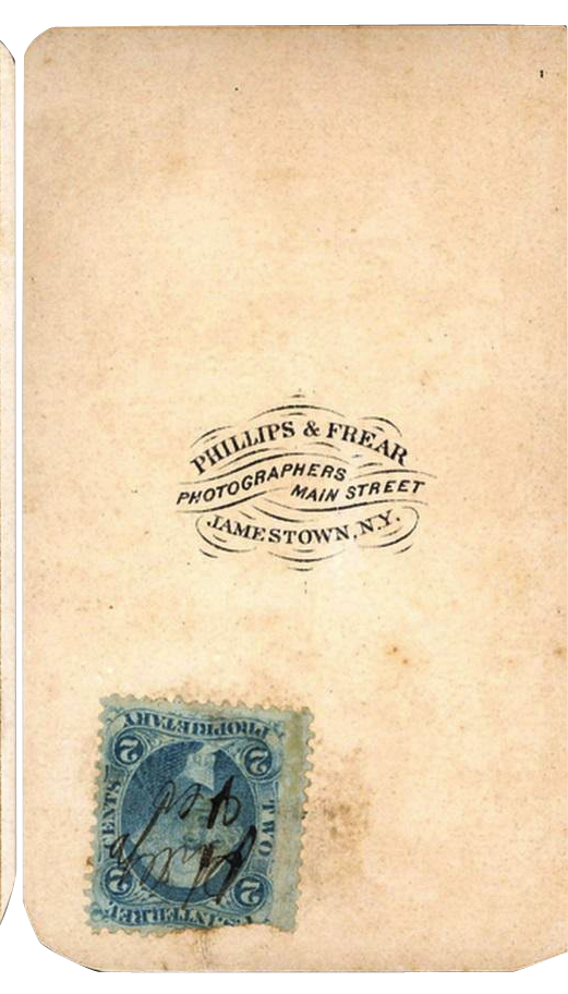 Studio name and tax stamp on the back of an 1860s CDV